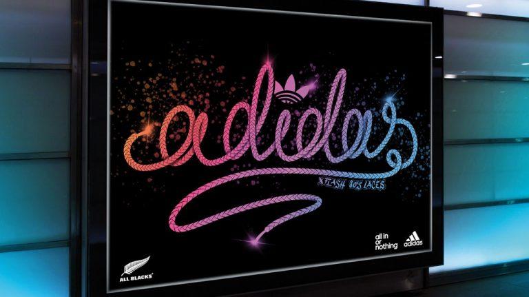 Djangonaut - Handlettering - Adidas - Concept - Laces Design - Subway Screen Concept Ad