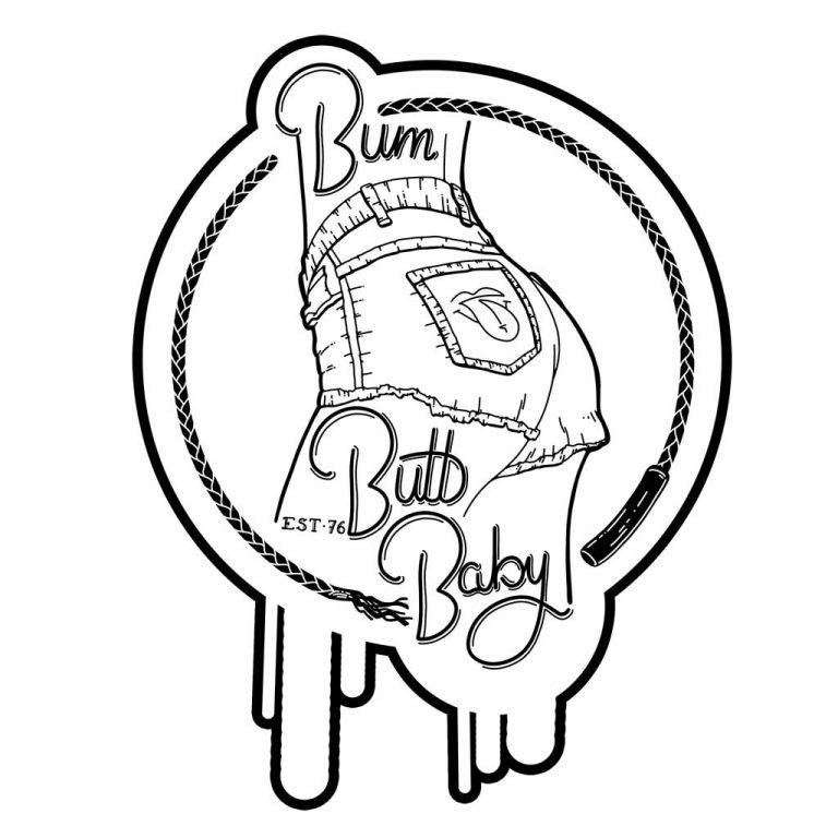 Djangonaut - Illustration - Bum Butt Baby - Sticker White