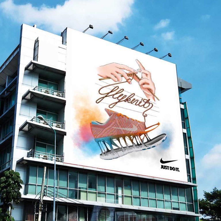 Djangonaut - Illustration - Handlettering - Nike Flyknit - Skyscraper Concept Ad