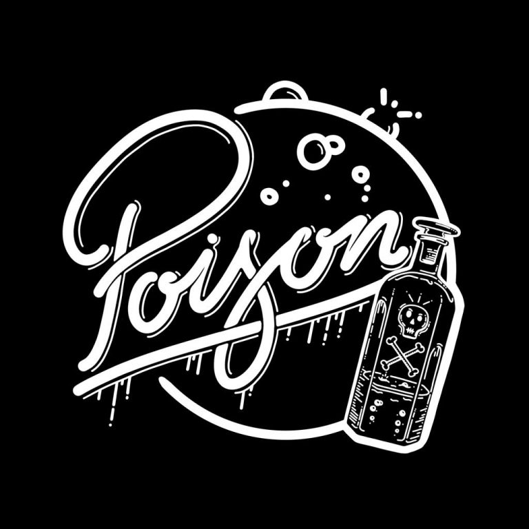 Djangonaut - Illustration - Handlettering - Poison Comes in small bottles - Black