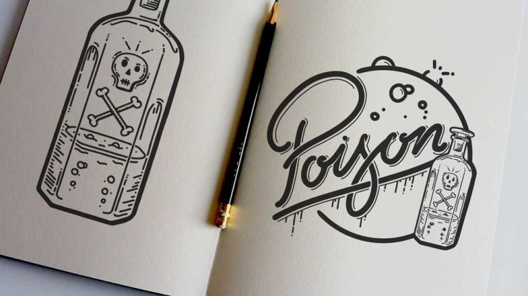 Djangonaut - Illustration - Handlettering - Poison Comes in small bottles - Sketchbook