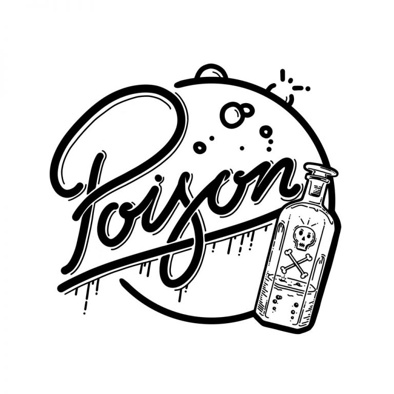 Djangonaut - Illustration - Handlettering - Poison Comes in small bottles - White