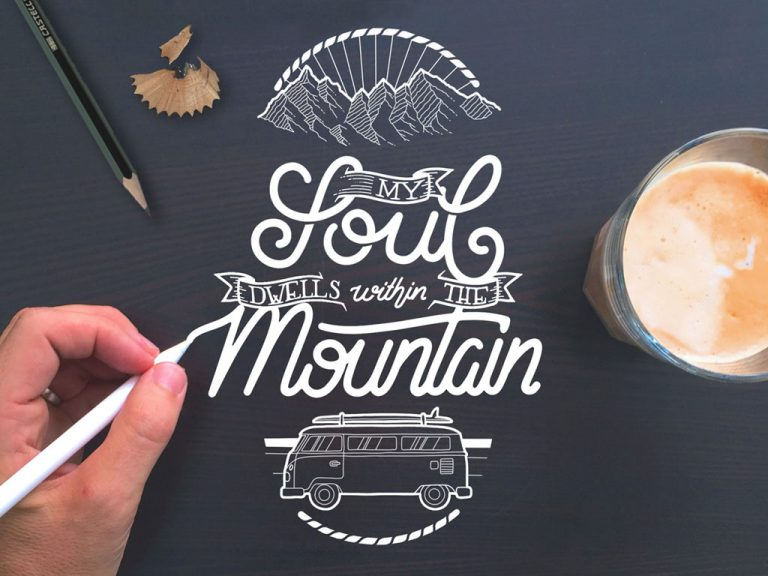 Djangonaut - Handlettering - Illustration - Soul Mountain Bully - Coffe, Pencil and Apple Pen