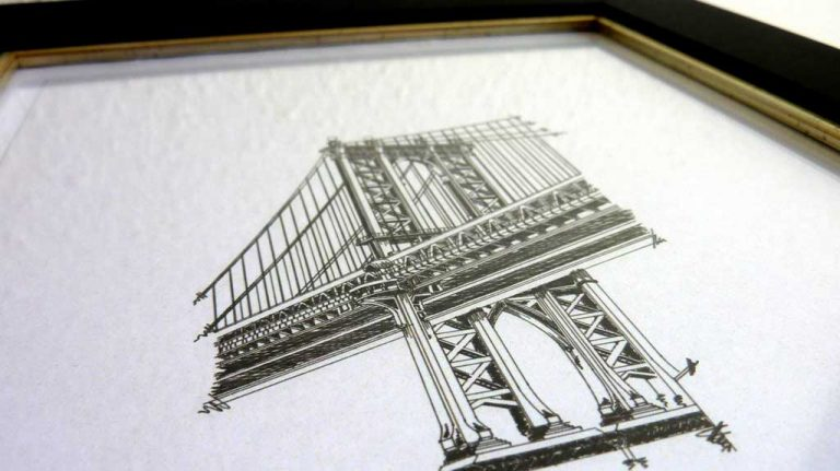 Djangonaut- Illustration - Manhattan Bridge - Framed