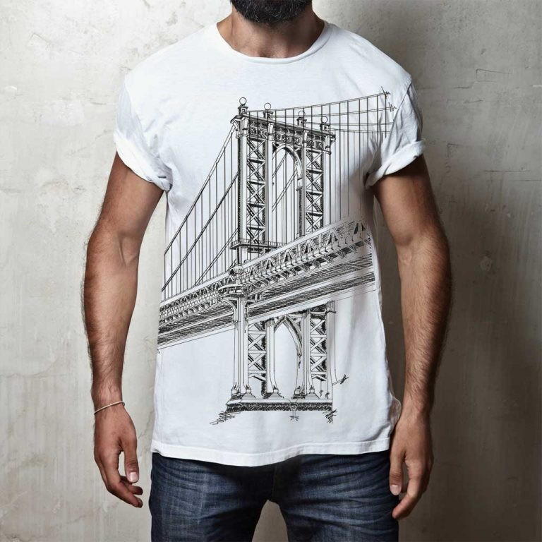 Djangonaut- Illustration - Manhattan Bridge - T-Shirt