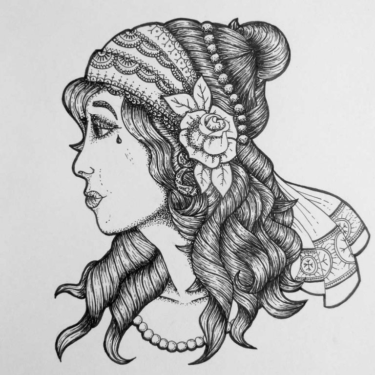 Djangonaut - Tattoo Design - Illustration - Gipsy Girl
