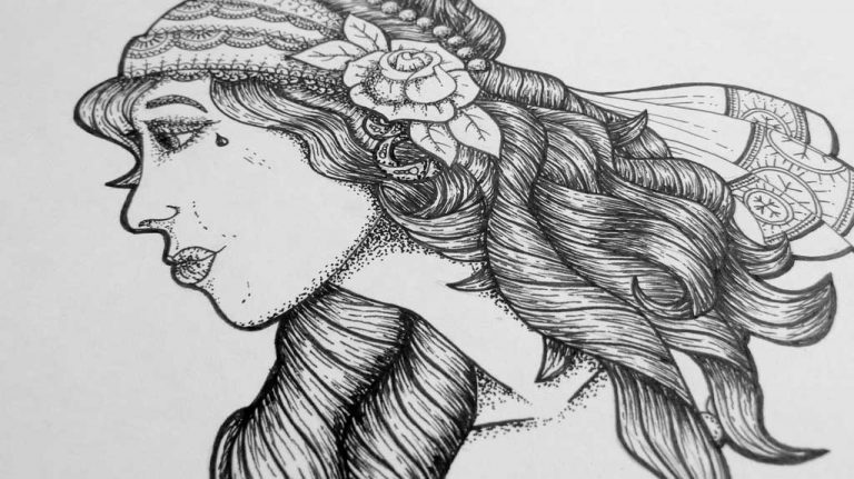 Djangonaut - Tattoo Design - Illustration - Gipsy Girl - Details Hair