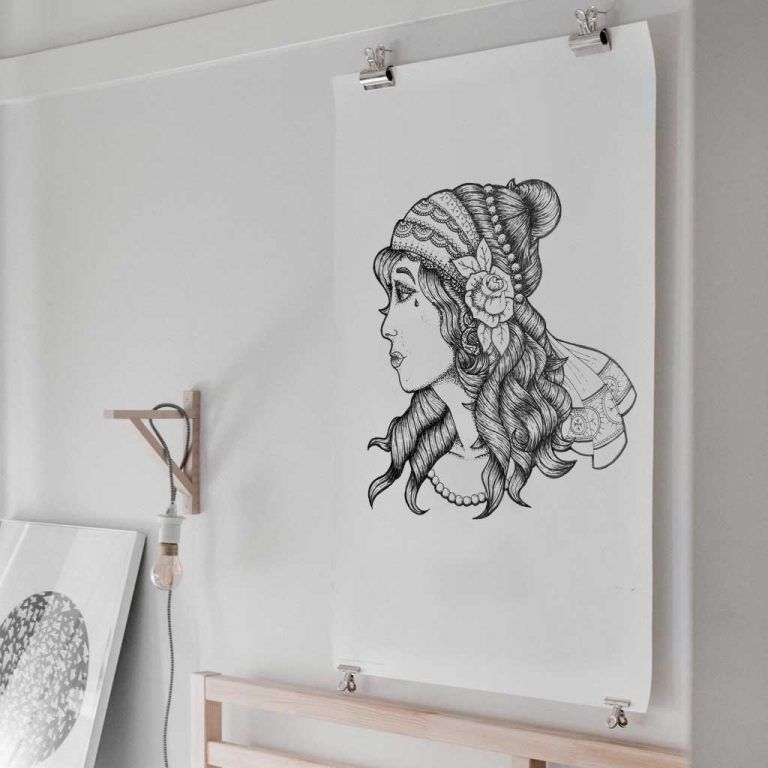 Djangonaut - Tattoo Design - Illustration - Gipsy Girl - Poster