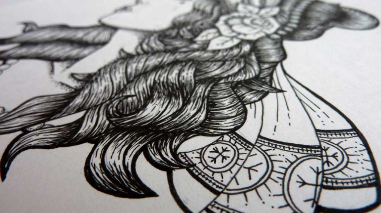 Djangonaut - Tattoo Design - Illustration - Gipsy Girl - Details Ribbon