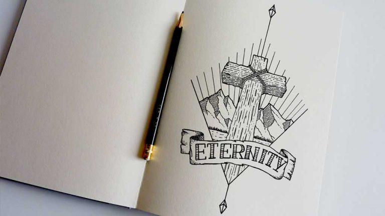 Djangonaut - Tattoo Design - Illustration - Handlettering - Cross Mountain Eternity - Sketchbook