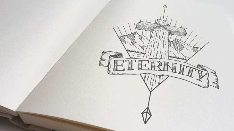 Djangonaut - Tattoo Design - Illustration - Handlettering - Cross Mountain Eternity - Focus Angle Flat