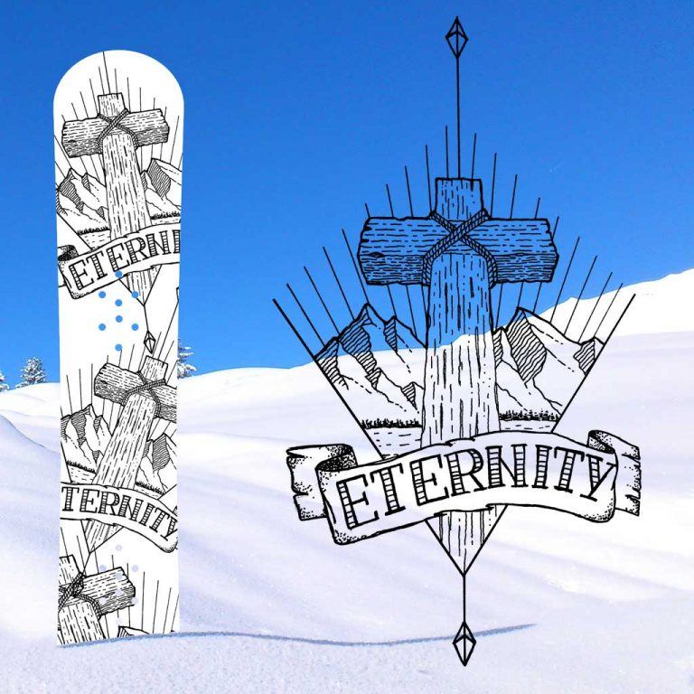 Djangonaut - Tattoo Design - Illustration - Handlettering - Cross Mountain Eternity - Snowboard Design