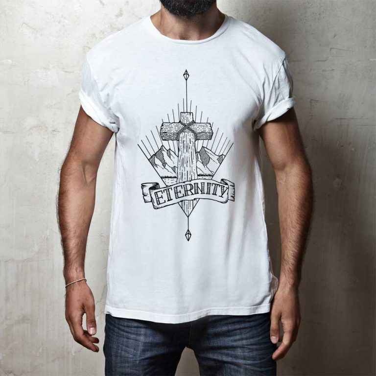 Djangonaut - Tattoo Design - Illustration - Handlettering - Cross Mountain Eternity - T-Shirt