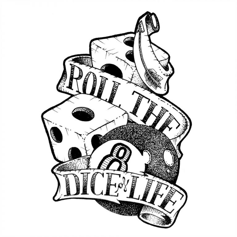 Djangonaut - Tattoo Design - Illustration - Handlettering - Roll The Dice Of Life