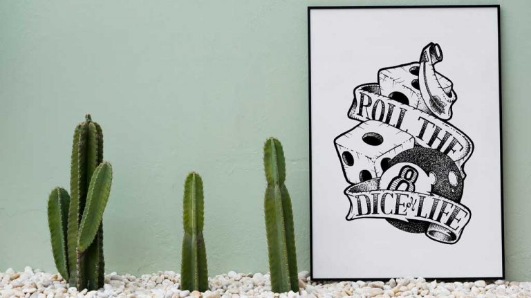 Djangonaut - Tattoo Design - Illustration - Handlettering - Roll The Dice Of Life - Poster