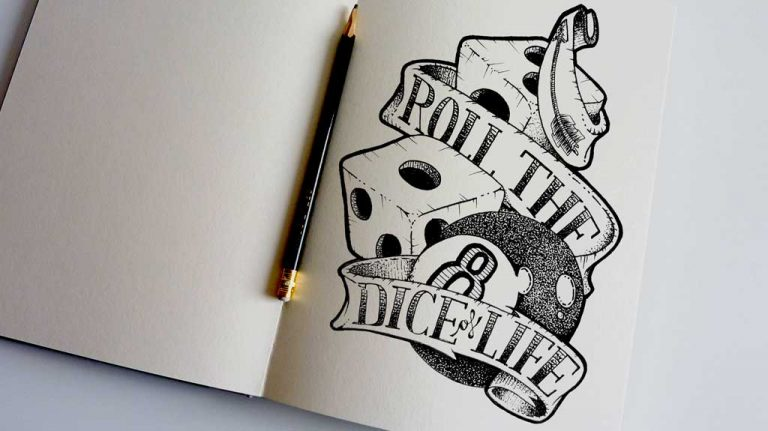 Djangonaut - Tattoo Design - Illustration - Handlettering - Roll The Dice Of Life - Sketchbook