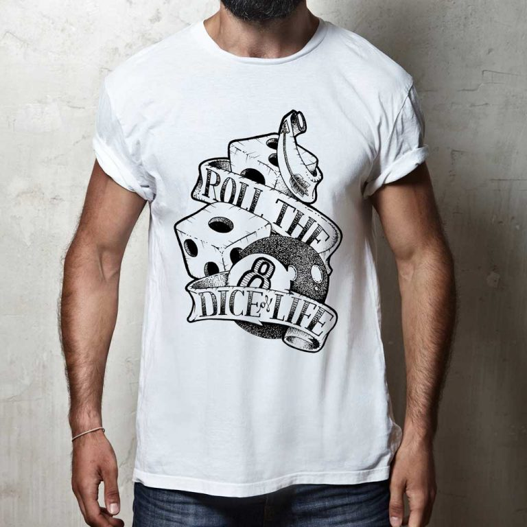 Djangonaut - Tattoo Design - Illustration - Handlettering - Roll The Dice Of Life - T-Shirt - White