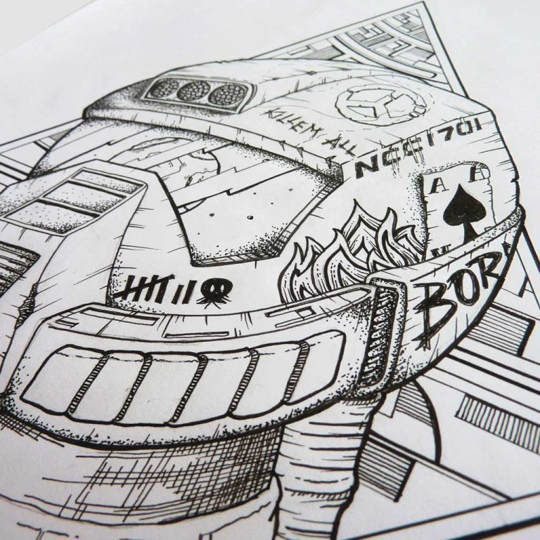 Djangonaut - - Illustration - Tattoo Design - Spaceman Helmet Details