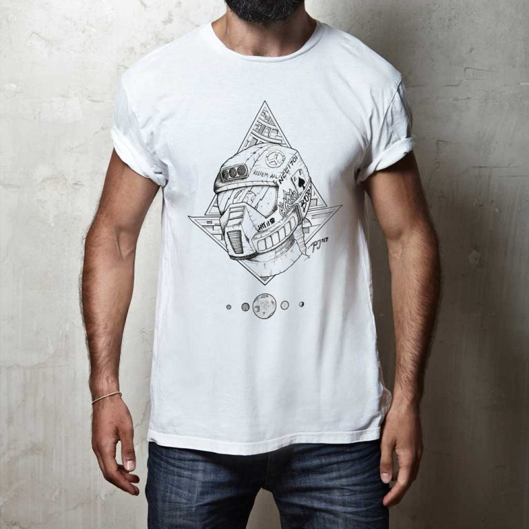Djangonaut - - Illustration - Tattoo Design - Spaceman - T-Shirt White